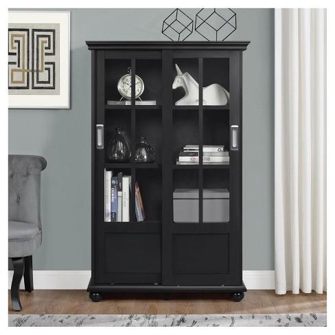 Capewood Bookcase With Sliding Glass Doors 51 Room Joy Target