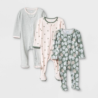 Baby Girls' Sleep N' Play - Cloud Island™ Pink/Green/Gray 0-3M