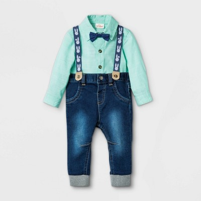 Baby Boys' Bunny Chambray Suspender Top & Bottom Set - Cat & Jack™ Green 3-6M