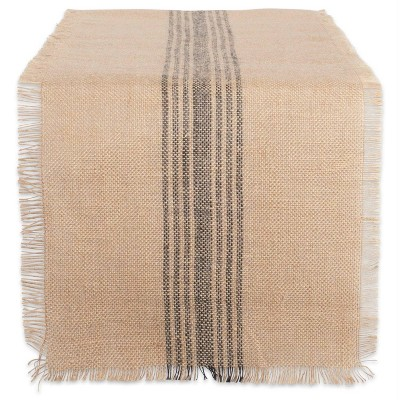 "108"" x 14"" Jute Middle Stripe Burlap Table Runner - Design Imports"