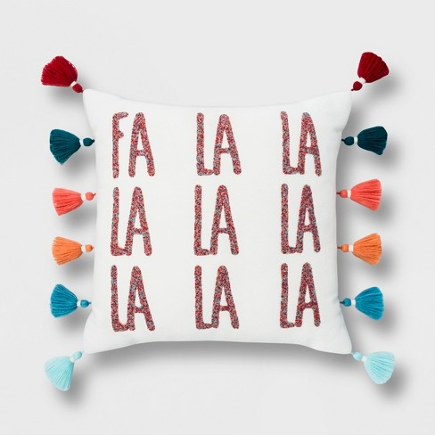 'Fa La La' Square Throw Pillow With Tassels - Opalhouse™ - image 1 of 4