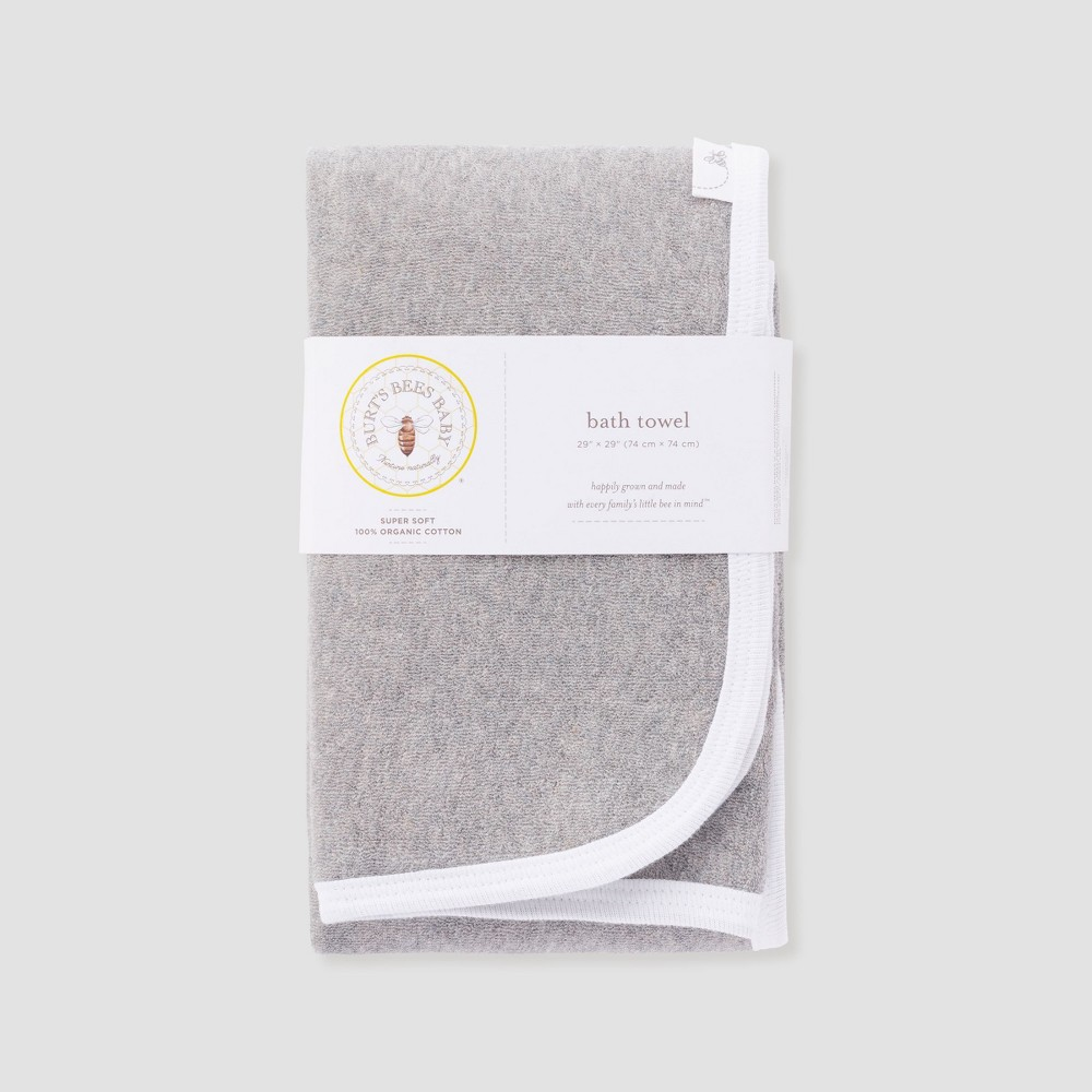 Image of Burt's Bees Baby Organic Cotton Single Ply Towel - Heather Gray One Size