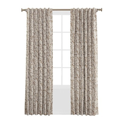 Kamila Woven Floral Blackout Lined Rod Pocket/Back-Tab Curtain Panel Cream 50 x84 - Sun Zero