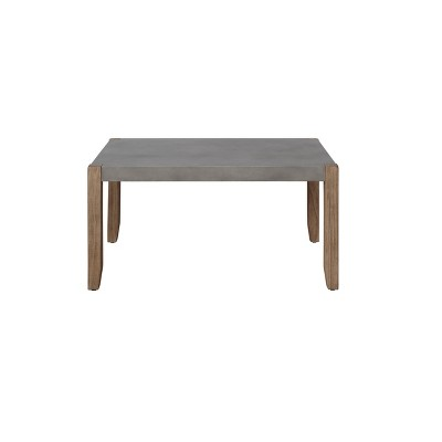 """36"""" Davenport Faux Concrete and Wood Coffee Table Light Amber - Alaterre Furniture"""