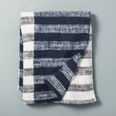 Contrast Edge Stripe Throw Blanket Sour Cream/Blue - Hearth & Hand™ with Magnolia