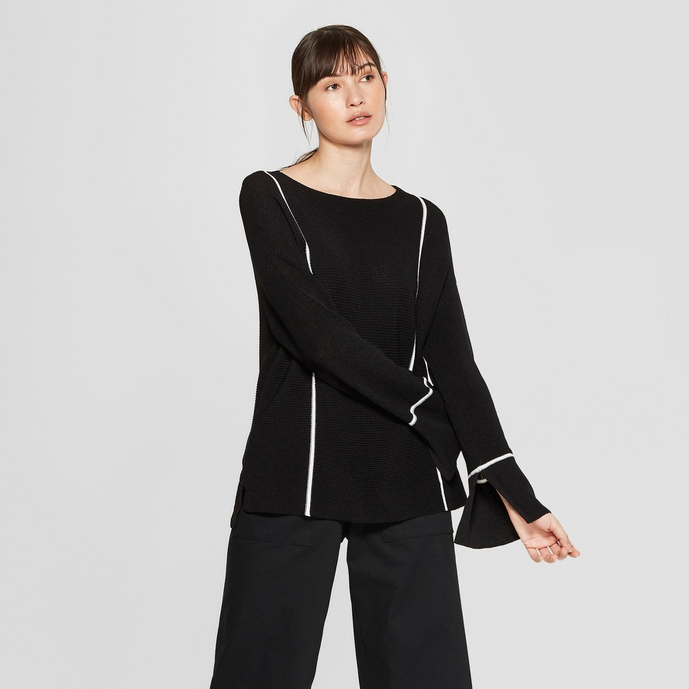 Women's Pinstriped Long Sleeve Pullover Sweater - Prologue Black XS