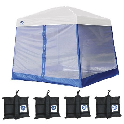 Z-Shade 10' x 10' Peak Canopy Straight Leg Instant Shelter with Screen & Weights
