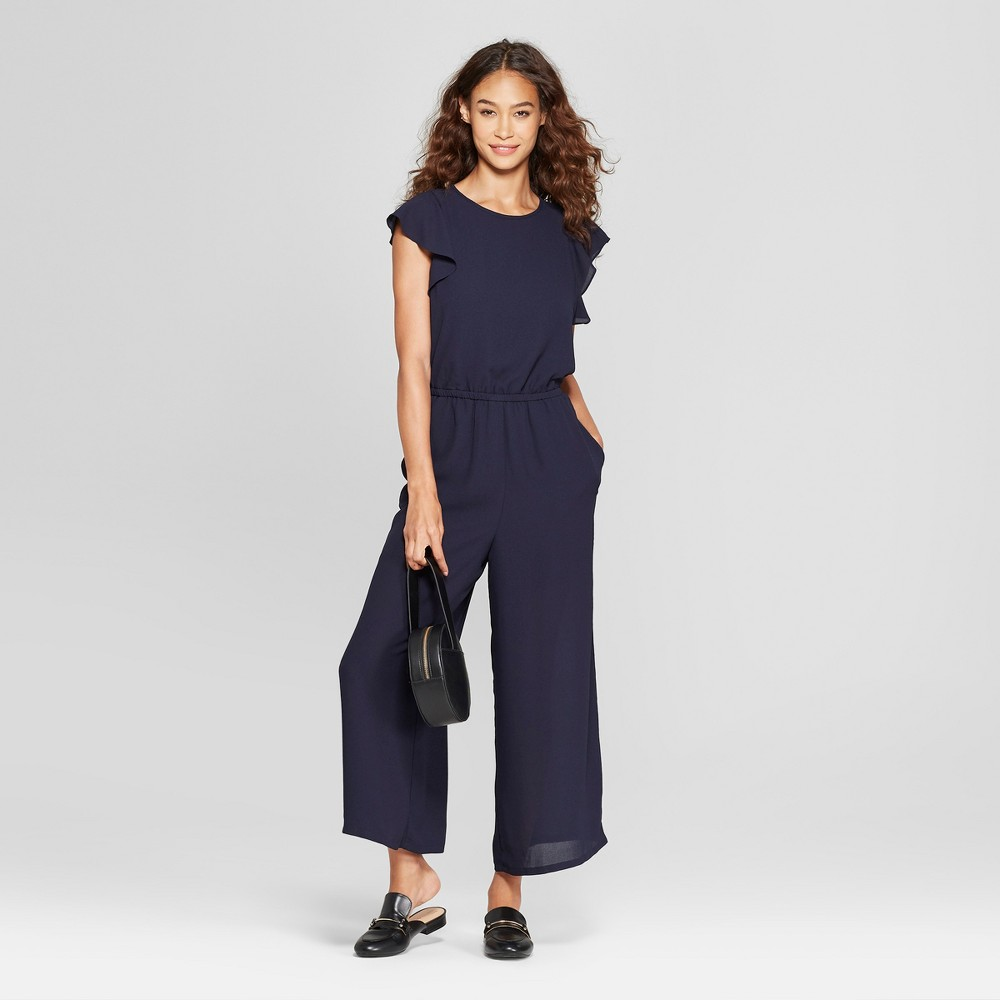 Women's Flutter Sleeve Jumpsuit - Éclair Navy XS, Blue