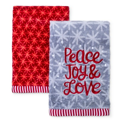2pk Peace Love and Joy Bath Towel Sets Armor Gray - Wondershop™