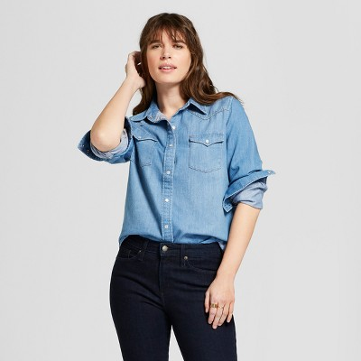 490a09af6d Women s Western Denim Shirt Long Sleeve Button-Down Shirt - Universal  Thread™ Medium Wash   Target
