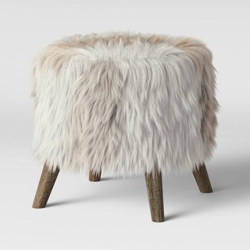 Judith Faux Fur Ottoman Light Brown - Threshold™ - image 1 of 4