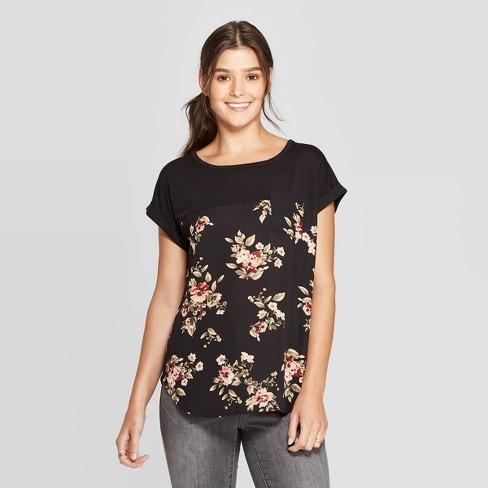 Women's Floral Print Short Sleeve Scoop Neck T-Shirt - Xhilaration™ Black - image 1 of 2