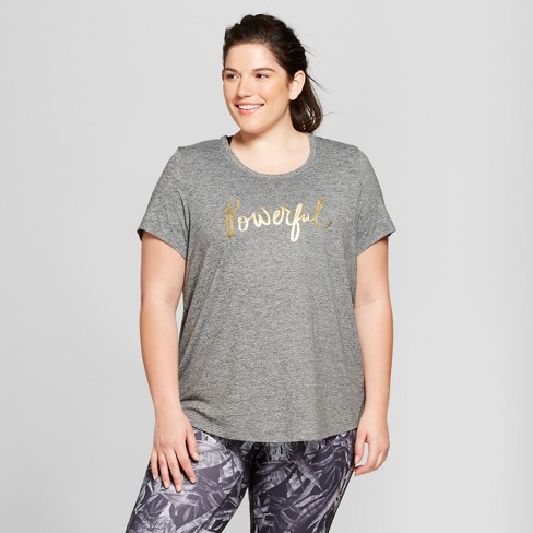 Women's Plus-Size Strappy Back Graphic T-Shirt - C9 Champion® Dark Heather Gray - image 1 of 3