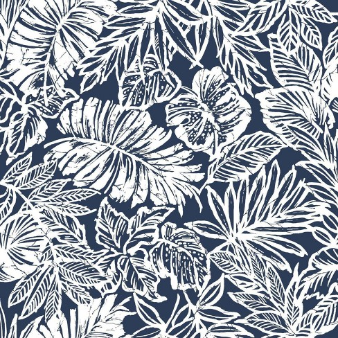 Roommates Batik Tropical Leaf Peel Stick Wallpaper Navy White Target