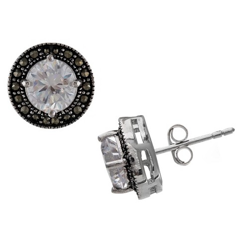 1847a6b39 Women's Oxidized Stud Earrings with Clear Round-Cut Cubic Zirconia in  Sterling Silver -Clear/Gray (11mm)