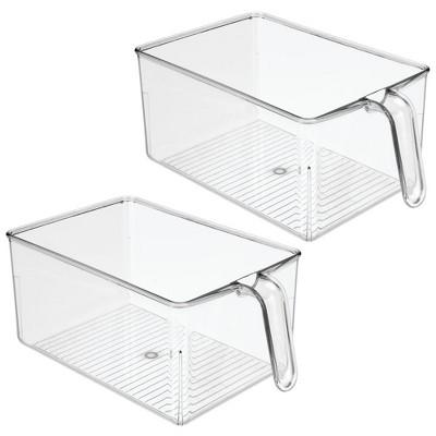 mDesign Kitchen Pantry Cabinet Refrigerator Storage Bin - 2 Pack, Clear