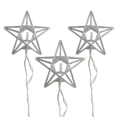 Penn 10-Count Battery Operated Warm Clear Sparkling Glittered Star Christmas Light set, 6.6ft Silver Wire