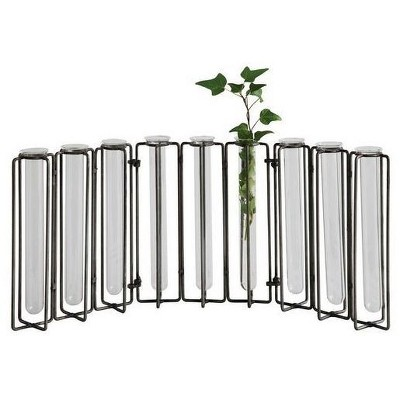 Glass Vases in Metal Stand (18.5 x7.5 )- 3R Studios