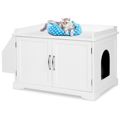 Best Choice Products Large Wooden Cat Litter Box Enclosure, Storage Cabinet Bench Table w/ Magazine Rack