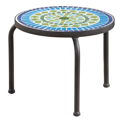 Iris Ceramic Tile Side Table - Blue/Green - Christopher Knight Home