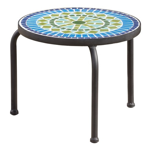 Iris Ceramic Tile Side Table Blue Green Christopher Knight Home