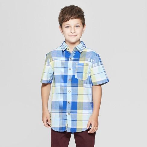 Boys' Short Sleeve Plaid Button-Down Shirt - Cat & Jack™ Blue/Yellow - image 1 of 3