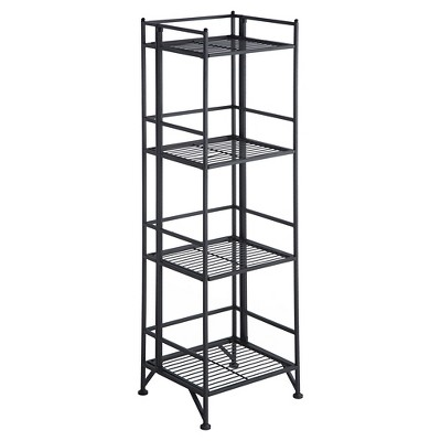 "45"" 4 Tier Folding Metal Shelf Black - Breighton Home"