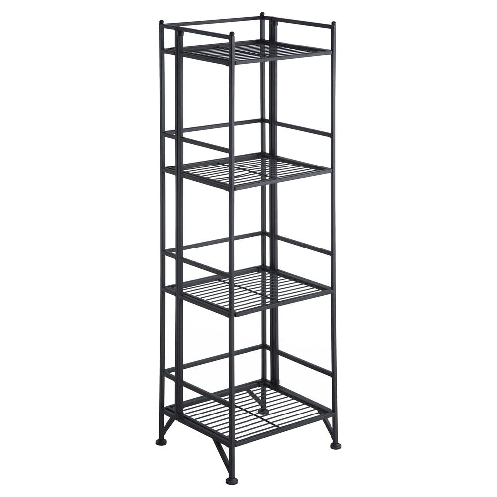"Image of ""45"""" Designs2Go 4 Tier Folding Metal Shelf Black - Johar Furniture"""