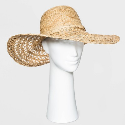 Women's Open Weave Raffia Straw Paper Hat - A New Day™ Natural