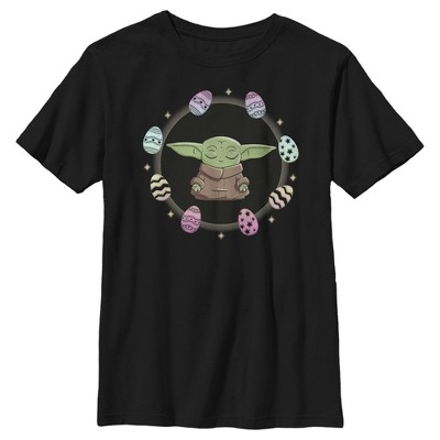 Boy's Star Wars The Mandalorian Grogu Easter Egging Around T-Shirt