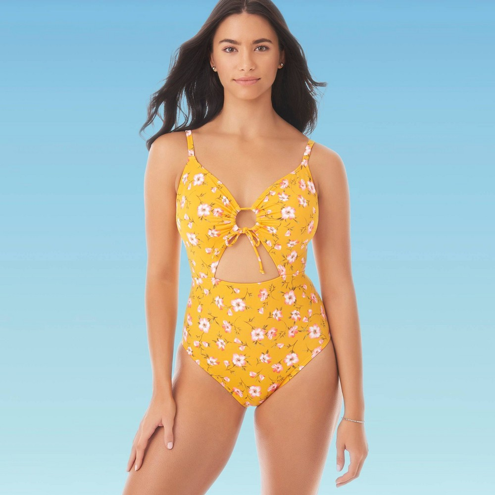 Image of Women's Slimming Control Drawstring Cut Out One Piece Swimsuit - Beach Betty By Miracle Brands Yellow L, Women's, Size: Large