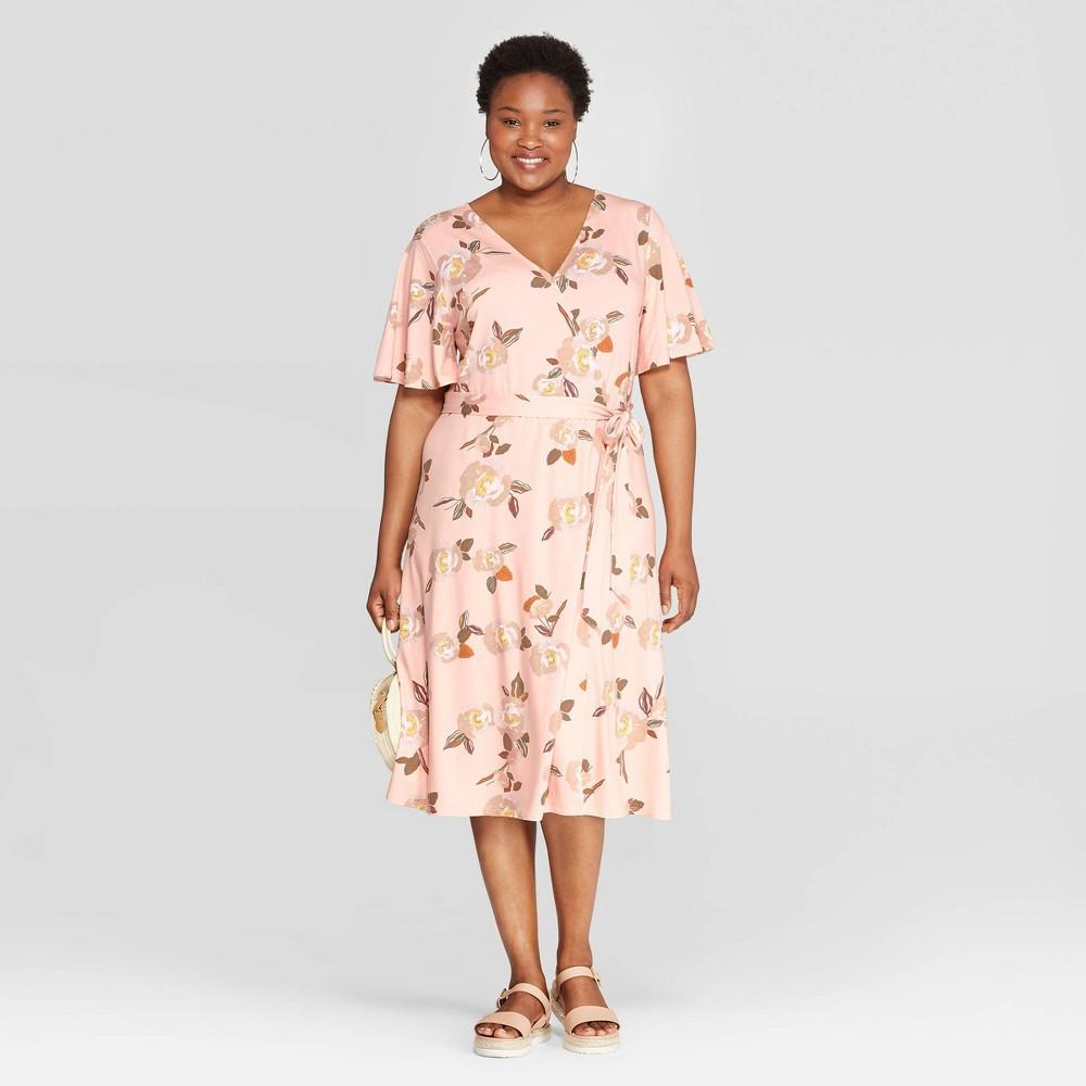 806a086d35cc Womens Plus Size Floral Print Short Sleeve V Neck Knit Wrap A Line Dress Ava  Viv Blush 1X Orange