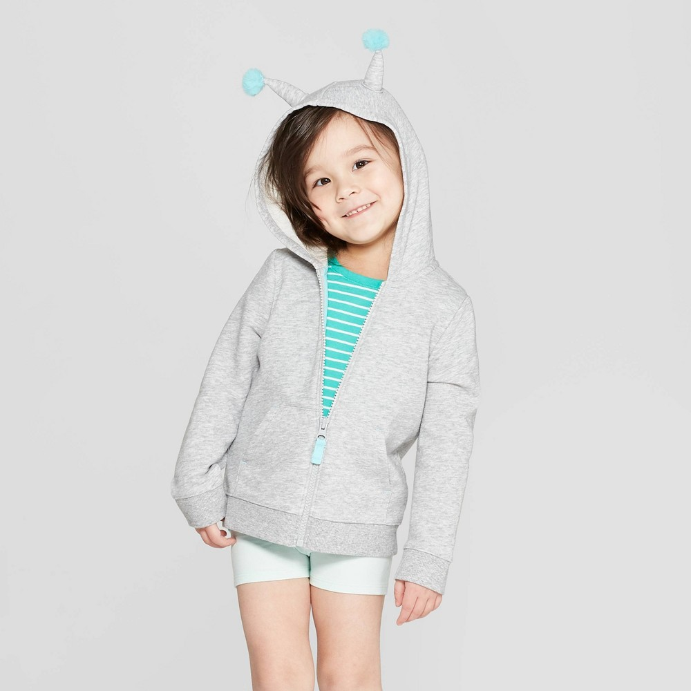 Toddler Girls' 'Butterfly' Hooded Sweatshirt - Cat & Jack Gray 5T