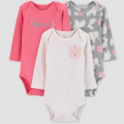 Baby Girls' 3pk Long sleeve Love Bodysuit - Just One You® made by carter's Pink 3M