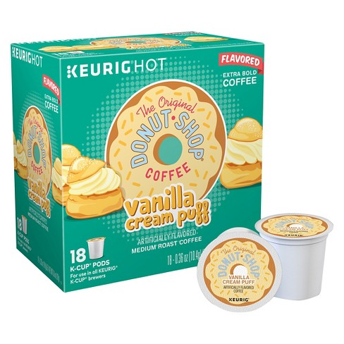 The Original Donut Shop Vanilla Cream Puff Flavored Medium Roast Coffee - Keurig K-Cup Pods - 18ct - image 1 of 6