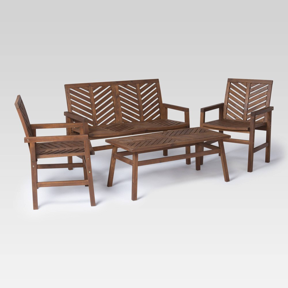 4pc Chevron Outdoor Patio Set Dark Brown - Saracina Home