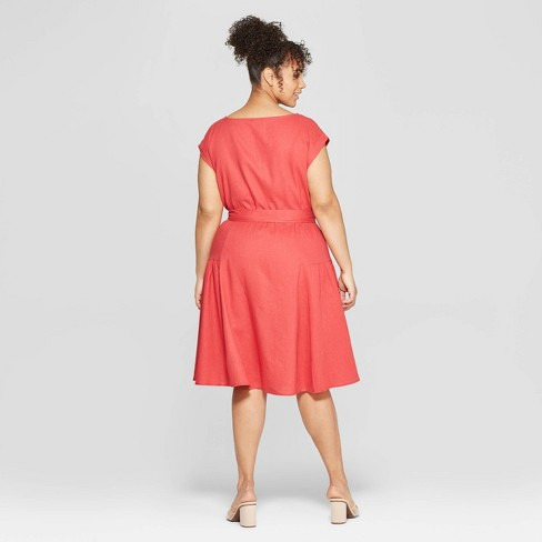 854ffbf19f8 Women s Plus Size Short Sleeve Boat Neck Tie Waist Midi Dress - Who What  Wear™