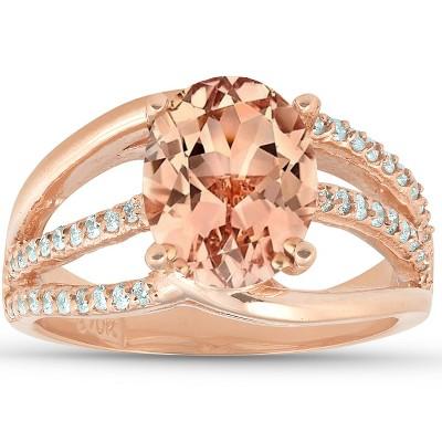 Pompeii3 3 Ct TW Large Oval Peach Morganite & Diamond Ring 10k Rose Gold