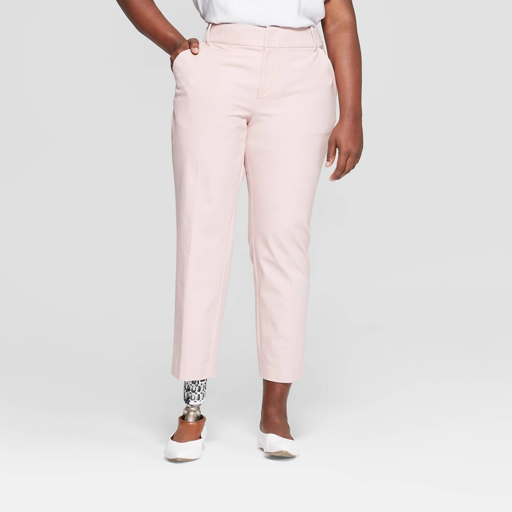 Women's Plus Size Ankle Pants with Comfort Waistband - Ava & Viv Light Pink 20W