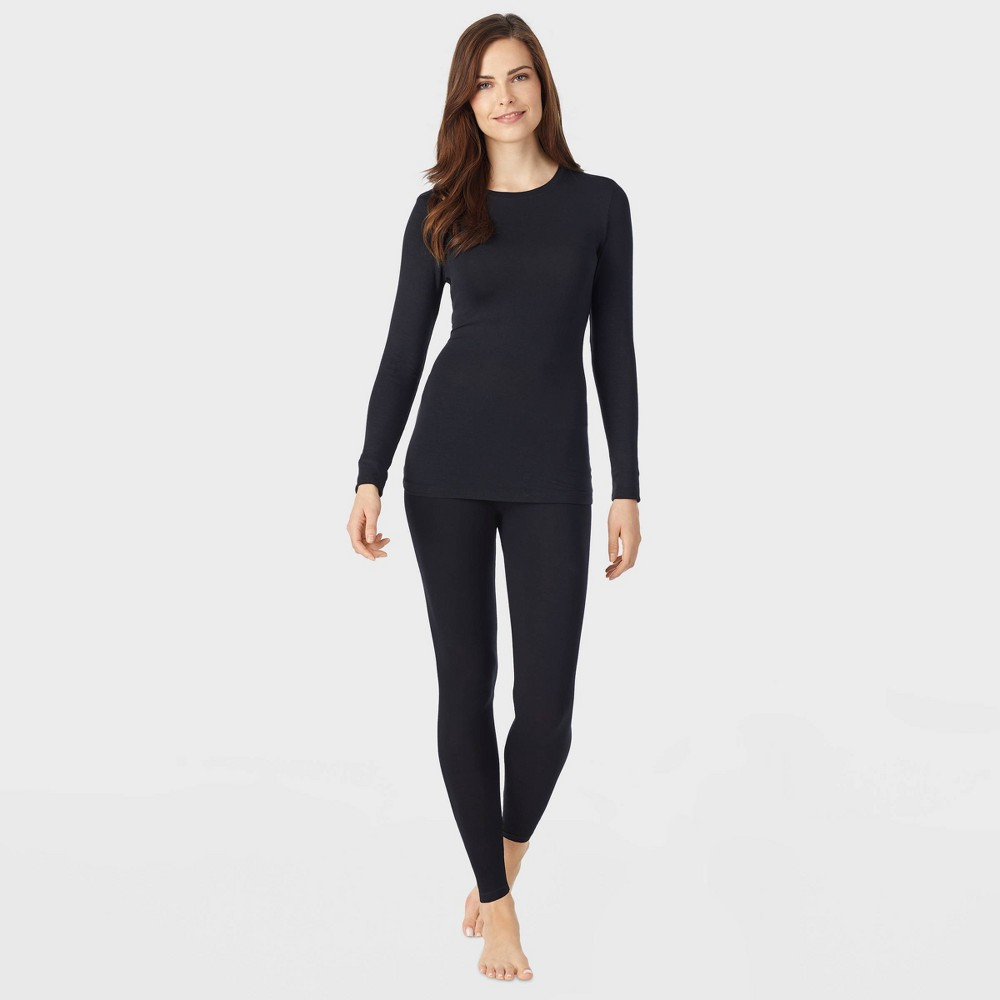 Image of Warm Essentials by Cuddl Duds Women's Smooth Stretch Thermal Scoop Neck - Black 2XL, Women's, Ivory