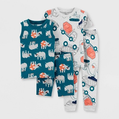 Toddler Boys' 4pc Rhino Construction Pajama Set - Just One You® made by carter's Gray/Blue