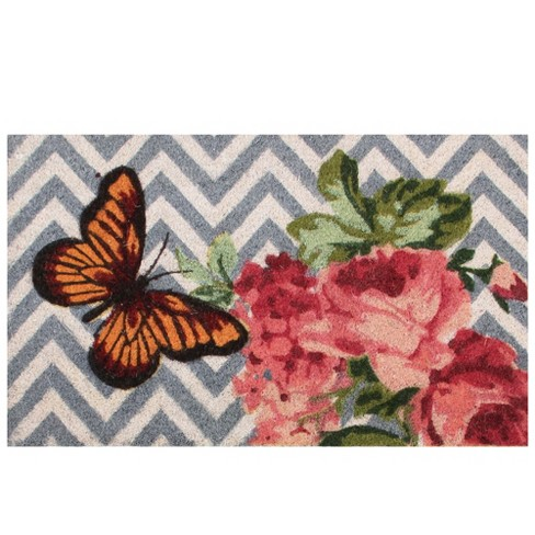 Northlight Pink Rose With an Orange Butterfly Spring Outdoor Mat 17 x 29 - image 1 of 2