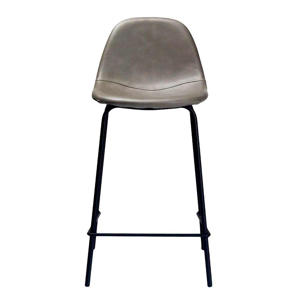 Maxine Modern Upholstered Faux Leather Counter Stool (Set of 2) - Smoke (Grey) - Aeon Vintage, classic styling with a modern-day twist, perfectly describes the Maxine Counter Stool It's slender shell has been padded for added comfort and is upholstered in your choice of charcoal, warm honey, smoky gray or rich tobacco distressed faux leather. The metal frame has been powder coated a black matte finish which perfectly complements the contoured shell. The tapered legs are finished with a perch for your feet and non-skid, non-marking foot caps for ease and safety. Stools are sold as a set of 2 and require minimal assembly. Color: Smoke. Gender: Unisex. Pattern: Solid.