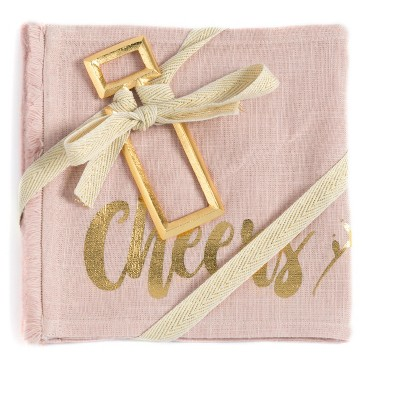 """""""Cheers"""" Set of Two Napkins And Bottle Opener Gift Set - Pink - Shiraleah"""