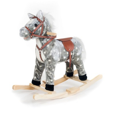 Toy Time Kids' Plush Rocking Horse Ride-on Toy - Gray and White