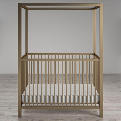 Monarch Hill Haven Metal Canopy Crib, Gold
