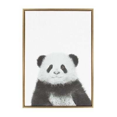 "33"" x 23"" Sylvie Panda Animal Print And Portrait By Simon Te Tai Framed Wall Canvas - Kate & Laurel"