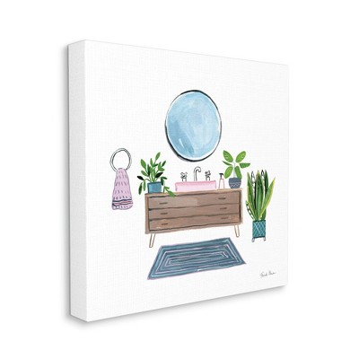 Stupell Industries Bathroom Interior Sink with Plants Blue Pink Artwork