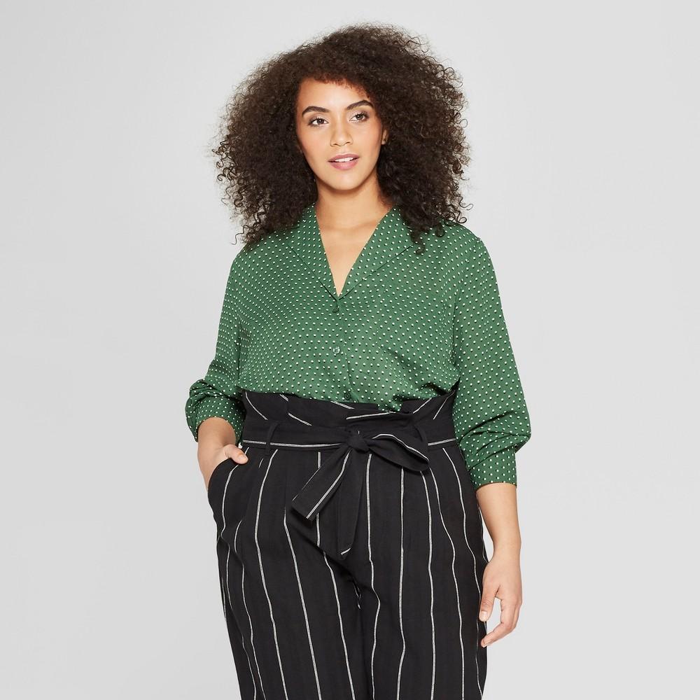 Women's Plus Size Polka Dot Long Sleeve Button-Down Front Pocket Blouse - Who What Wear Green 4X