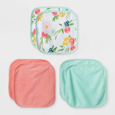 Baby Girls' 6pk Floral Fields Washcloth Set - Cloud Island™ Coral One Size